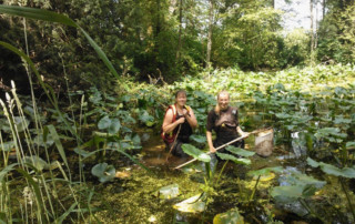 Ashley and Sarah Look for Toads in Pond
