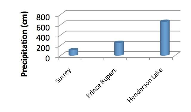 Graph comparing less precipitation in Surrey, more precipitation in Prince Rupert, and the most precipitation in Henderson Lake.