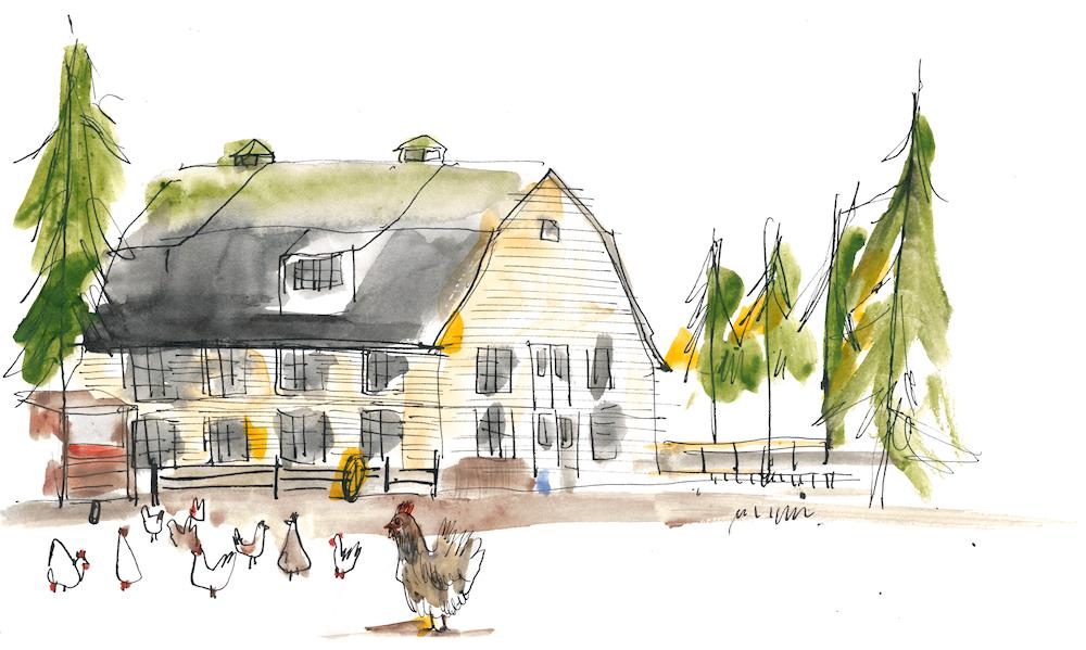 Sketch of Brooksdale Barn