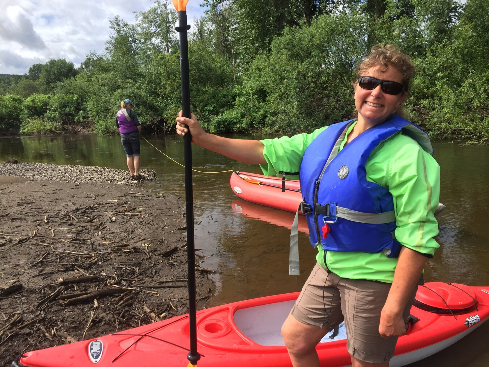 Margaret Letkeman during a river kayaking spawner survey